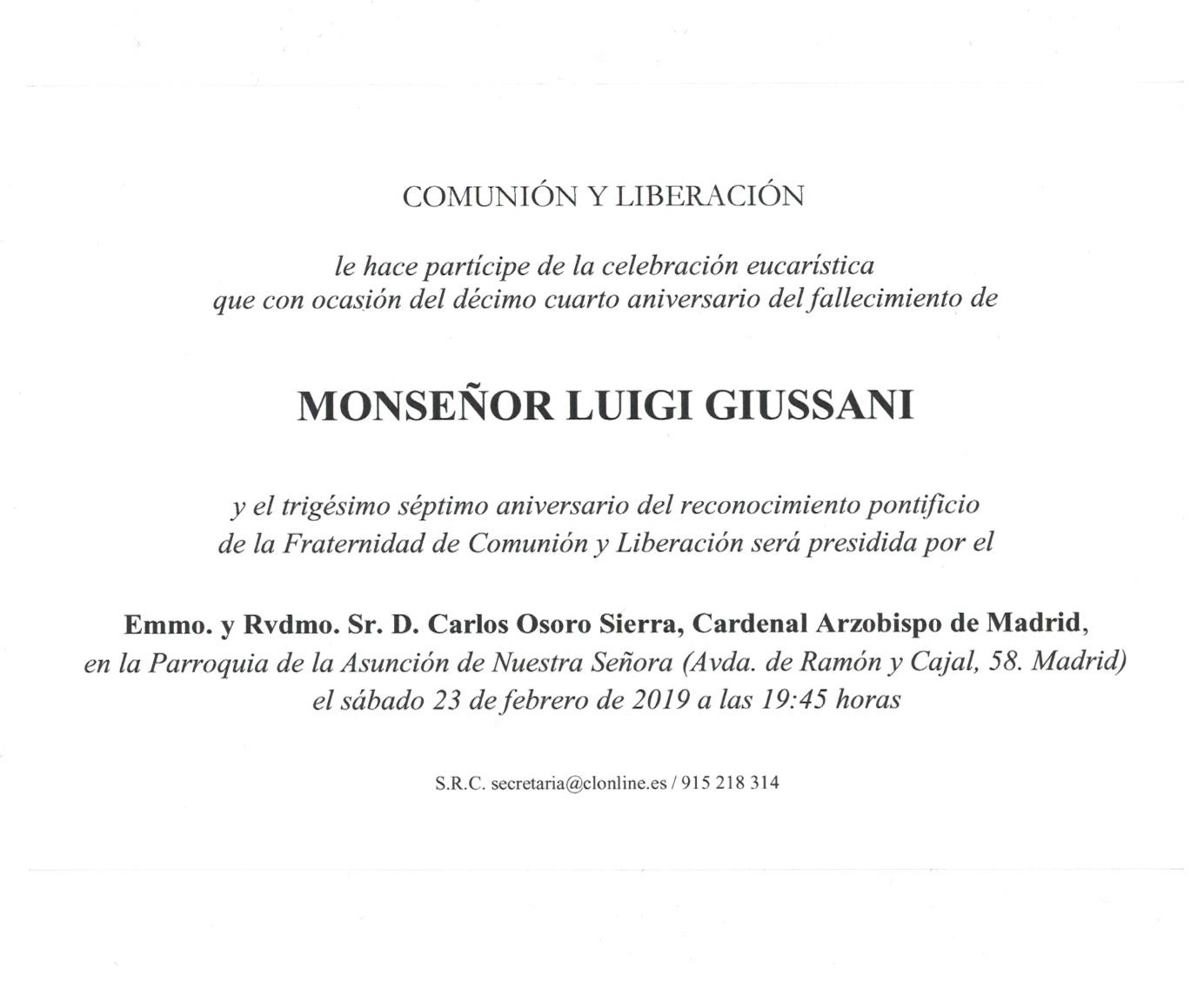 Eucaristía Comunión y Liberación